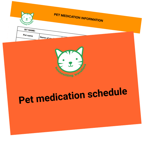 pet medication schedule for housesitters